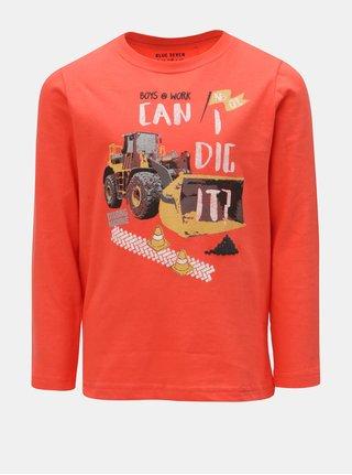 Červené chlapčenské tričko s potlačou traktoru Blue Seven