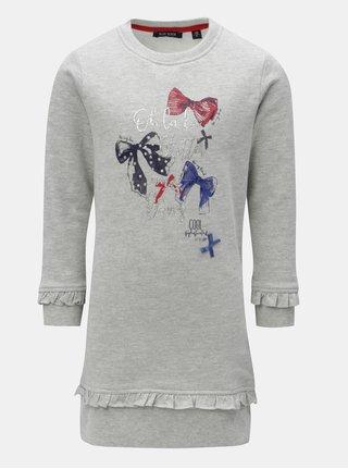 Sivé dievčenské melírované šaty s potlačou a volánmi Blue Seven