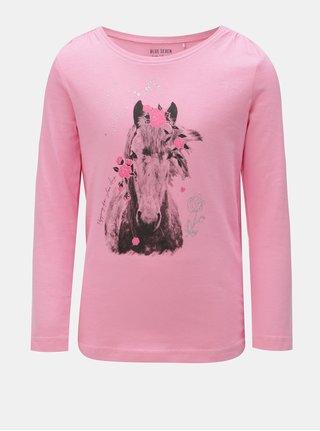 Ružové dievčenské tričko s potlačou koňa Blue Seven