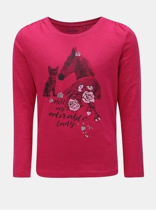 Tmavoružové dievčenské tričko s potlačou koňa Blue Seven
