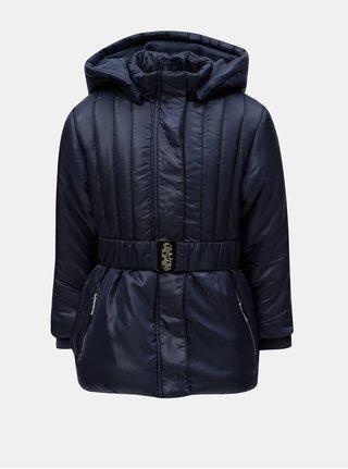 Tmavě modrá holčičí prošívaná bunda s kapucí a páskem Blue Seven