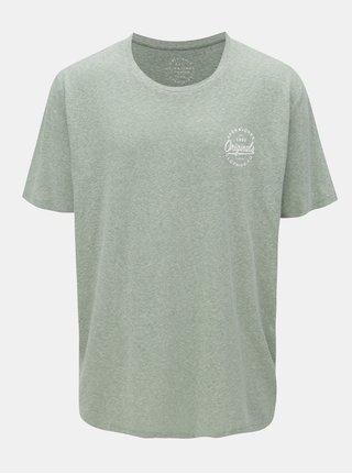 Tricou verde melanj cu print Jack & Jones Breeze Small