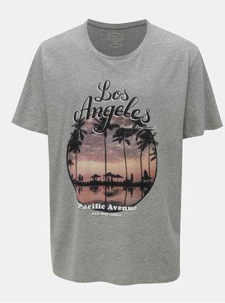 Sivé melírované tričko s potlačou Jack & Jones Pleo