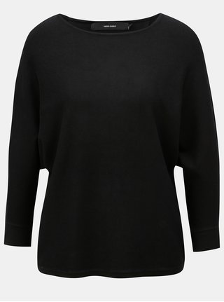Čierny tenký oversize sveter s 3/4 rukávem VERO MODA