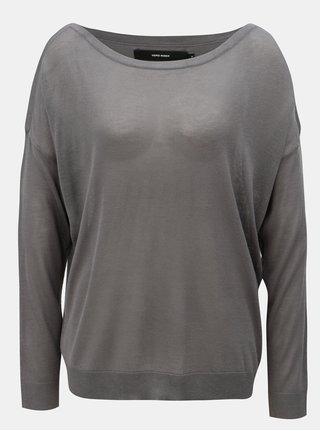 Tmavě šedý lehký  svetr s dlouhým rukávem VERO MODA