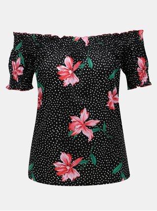 Čierne kvetované tričko s odhalenými ramenami Dorothy Perkins