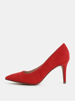 Pantofi rosii cu toc cui si aspect de piele intoarsa Dorothy Perkins Electra