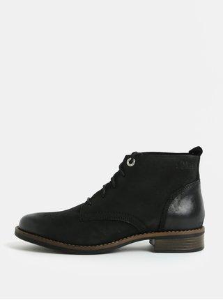 Černé dámské kožené kotníkové boty s.Oliver