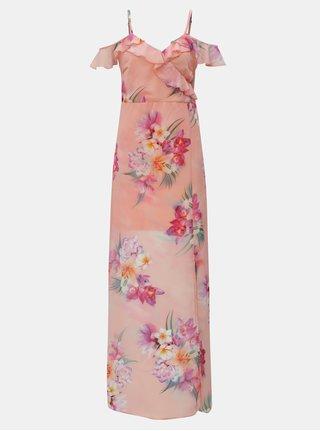 Rochie maxi roz piersica cu volane Scarlett B