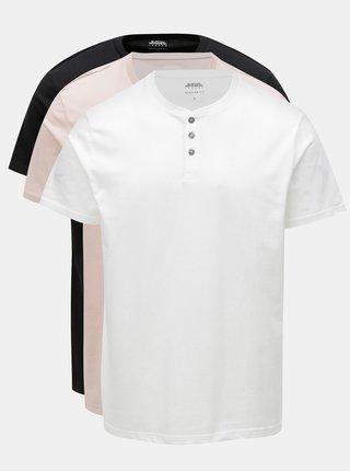 Sada tří pánských regular fit triček v bílé, černé a starorůžové barvě Burton Menswear London