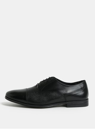 Čierne pánske kožené poltopánky Burton Menswear London