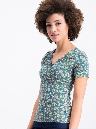 Zelené vzorované tričko s překládaným výstřihem Blutsgeschwister ec5748d334