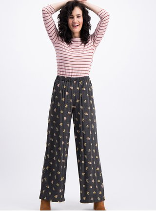 Pantaloni gri inchis lati cu model Blutsgeschwister