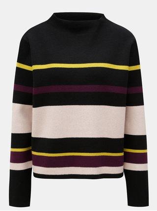 Čierny dámsky pruhovaný oversize sveter Broadway Mora