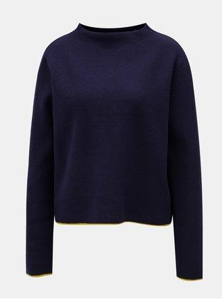 Modrý dámsky oversize sveter s pruhom na chrbte Broadway Mora