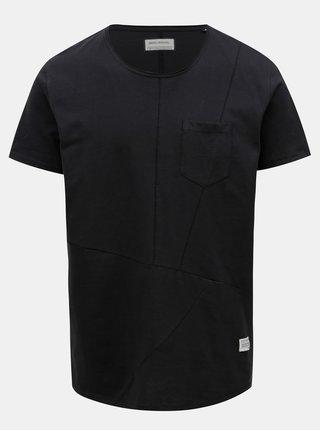 Černé prošívané tričko s náprsní kapsou Shine Original