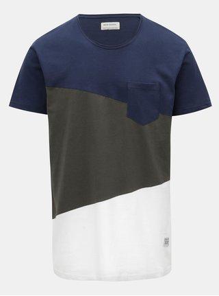 Modro-zeleno bílé prošívané tričko s náprsní kapsou Shine Original