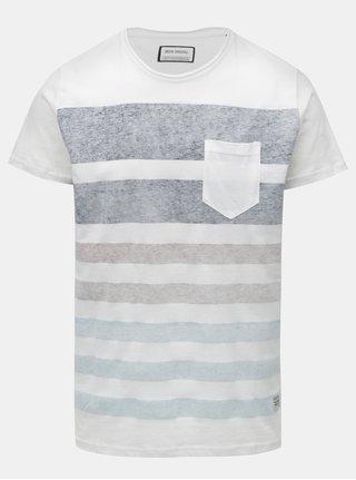 Tricou alb cu dungi melanj si buzunar la piept Shine Original