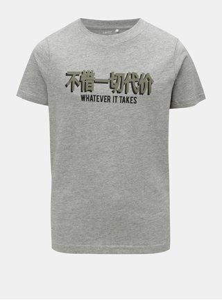 Sivé chlapčenské melírované tričko s krátkym rukávom LIMITED by name it Victoreno