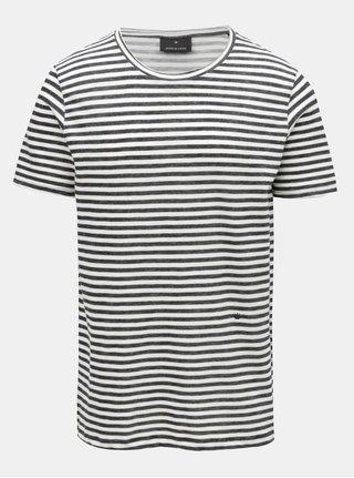 Krémovo-modré pruhované tričko JUNK de LUXE