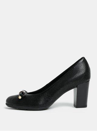 Pantofi negri cu efect de piele de sarpe Geox Annya