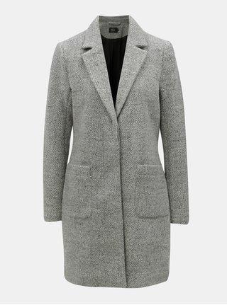Šedý lehký kabát s příměsí vlny ONLY