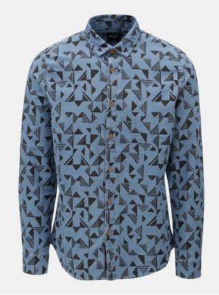Modrá vzorovaná džínová slim fit košile ONLY & SONS