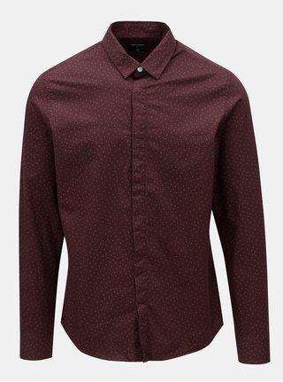 Vínová vzorovaná slim fit košile Only&Sons ONLY & SONS