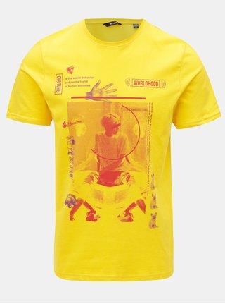 Tricou galben cu print ONLY & SONS