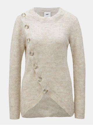 Svetlohnedý melírovaný sveter na kojenie s prímesou vlny z alpaky Mama.licious