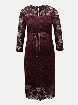 Vínové tehotenské čipkované šaty s opaskom Mama.licious