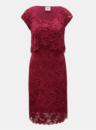 Vínové čipkované šaty na kojenie s volánom Mama.licious