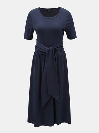 Tmavě modré šaty se zavazováním v pase Selected Femme