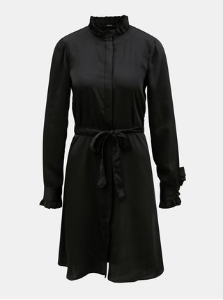 Čierne košeľové šaty so stojačikom a odnímateľným opaskom VERO MODA Elizabeth