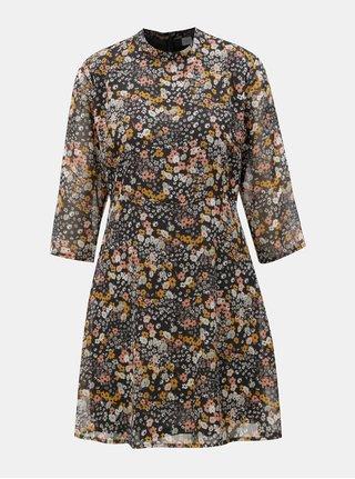 Tmavomodré kvetované šaty s 3/4 rukávmi Jacqueline de Yong