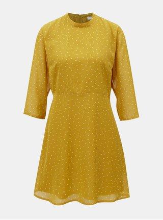 Hořčicové vzorované šaty s 3/4 rukávy Jacqueline de Yong