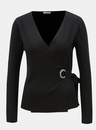 Cardigan negru cu snur in talie Noisy May