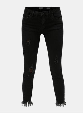 Černé zkrácené skinny džíny s potrhaným efektem ONLY