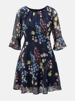 Tmavě modré vzorované šaty se zvonovým rukávem Billie & Blossom