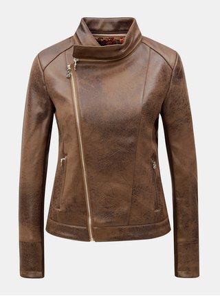 Hnedá koženková bunda s detailmi v zlatej farbe Desigual Merlin