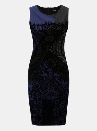 Modro-černé pouzdrové vzorované šaty Desigual