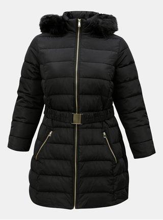 Černý prošívaný kabát s odnímatelným páskem Dorothy Perkins