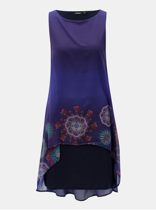 Fialové šaty s prodlouženou zadní částí Desigual