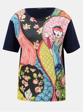 Tricou rosu-albastru cu model floral Desigual