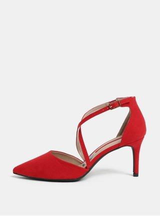 Červené sandálky v semišové úpravě na jehlovém podpatku Dorothy Perkins Elsa