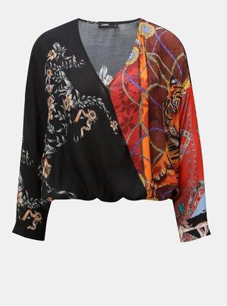Bluza neagra crop lejera cu model floral cu maneci 3/4 Desigual