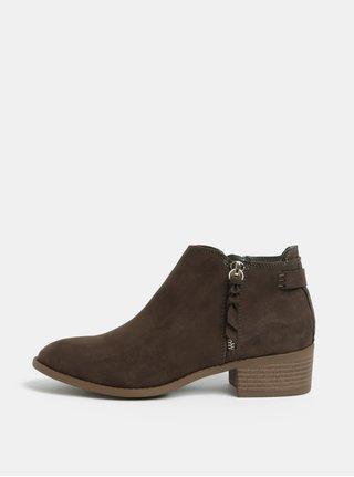 Khaki kotníkové boty v semišové úpravě na nízkém podpatku Dorothy Perkins Major