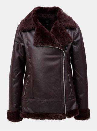 Vínová koženková bunda s umelou kožušinou Dorothy Perkins