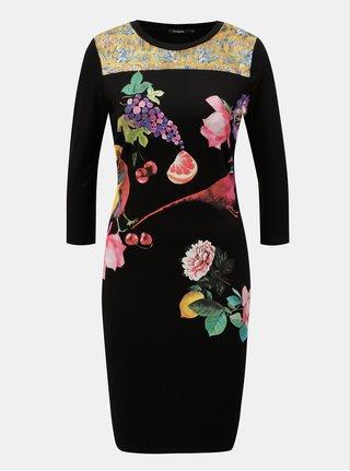 Čierne puzdrové šaty s potlačou a 3/4 rukávom Desigual Vanity