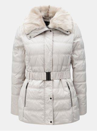 Krémová prošívaná bunda s umělým kožíškem Dorothy Perkins